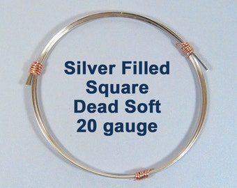 20ga SQ DS Square Silver Filled Wire - Choose Your Length