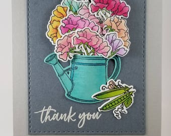 Flower Thank You Greeting Card, Handmade Thank You Card
