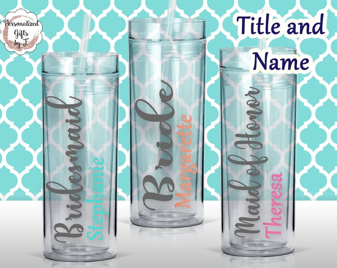 Personalized Bridesmaid Tumbler Glass Personalized Tumbler, Bridesmaid Gift, Bachelorette Party, Bridesmaid Glass design #102