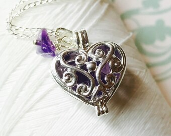Worry Locket - amethyst heart locket / heart necklace / silver locket / heart locket / amethyst necklace / floating locket / amethyst locket