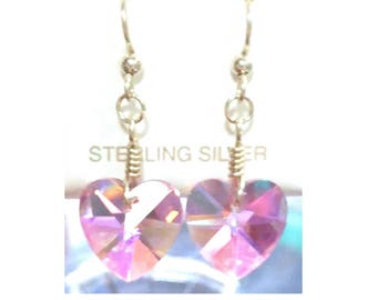 Pink Crystal Heart Earrings on Sterling Silver French Hooks