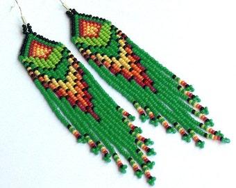 Native American Earrings Inspired. Long Earrings. Colorful Dangle Earrings. Beaded Ethnic Jewelry
