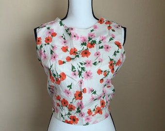 60's vintage cropped floral blouse