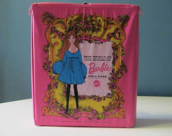 Vintage / Retro Barbie Hangers, Clothes / Clothing, and 1968 Pink The World Of Barbie Doll Case For Barbie And Her Friends By Mattel