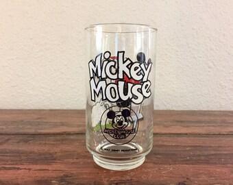 Vintage Mickey Mouse Club Glass / Pogo Stick Glass / Walt Disney Productions / 12oz Glass