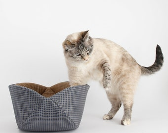 Coordinating Cat Bed Options - The Cat Canoe in Navy Blue and Tan Modern Cat Furniture - Manor House 19th century fabric cat bed