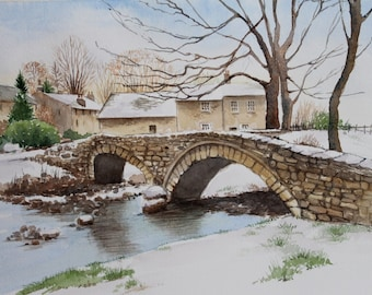 Winter in Wycoller, Lancashire - Original Watercolour Painting - Snow - Trees - English Village Landscape - Jane Kay - Fine Art