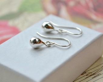 Silver Teardrop Earrings, Sterling Dangle Earrings, Modern Earrings, 925 Silver Earrings, Everyday Earrings, Mother Gift, Silver Jewellery