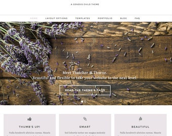 wordpress theme - thatcher & thorne - mobile responsive wordpress template with custom colors and portfolio - INSTANT DOWNLOAD