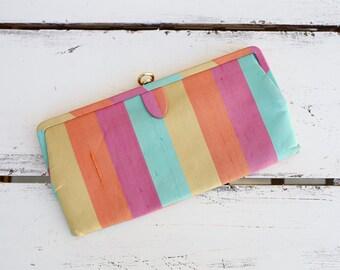 VINTAGE 50s multi color striped clutch / clasp purse