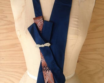 Turquoise Origami Silk Tie Necklace