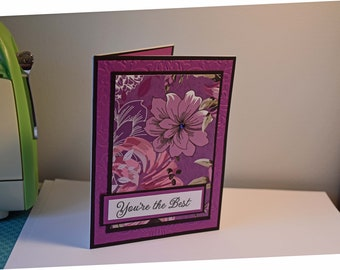 Handmade Greeting Card - You're the Best - Flowers in Purple