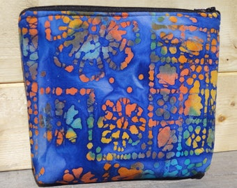 Make up Bag, Zipper Pouch - Blue Batik