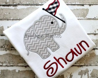 Machine Embroidery Design Applique Elephant with Pennant INSTANT DOWNLOAD