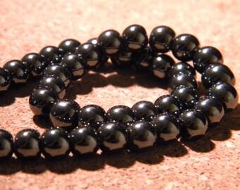 30 bead black hematite metallic 6 mm - gem stone PE292