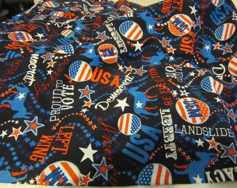 Fabric,Cotton,Political,Party,Democrat,Red,Blue,White,Patriotic,Sewing,Crafts,Liberal,Politics,Home Decor