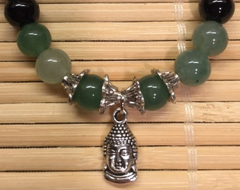 Wrist Mala Meditation Relaxation Bracelet Buddha Jewelry Green Jade and Black Onyx Beads Gemstone