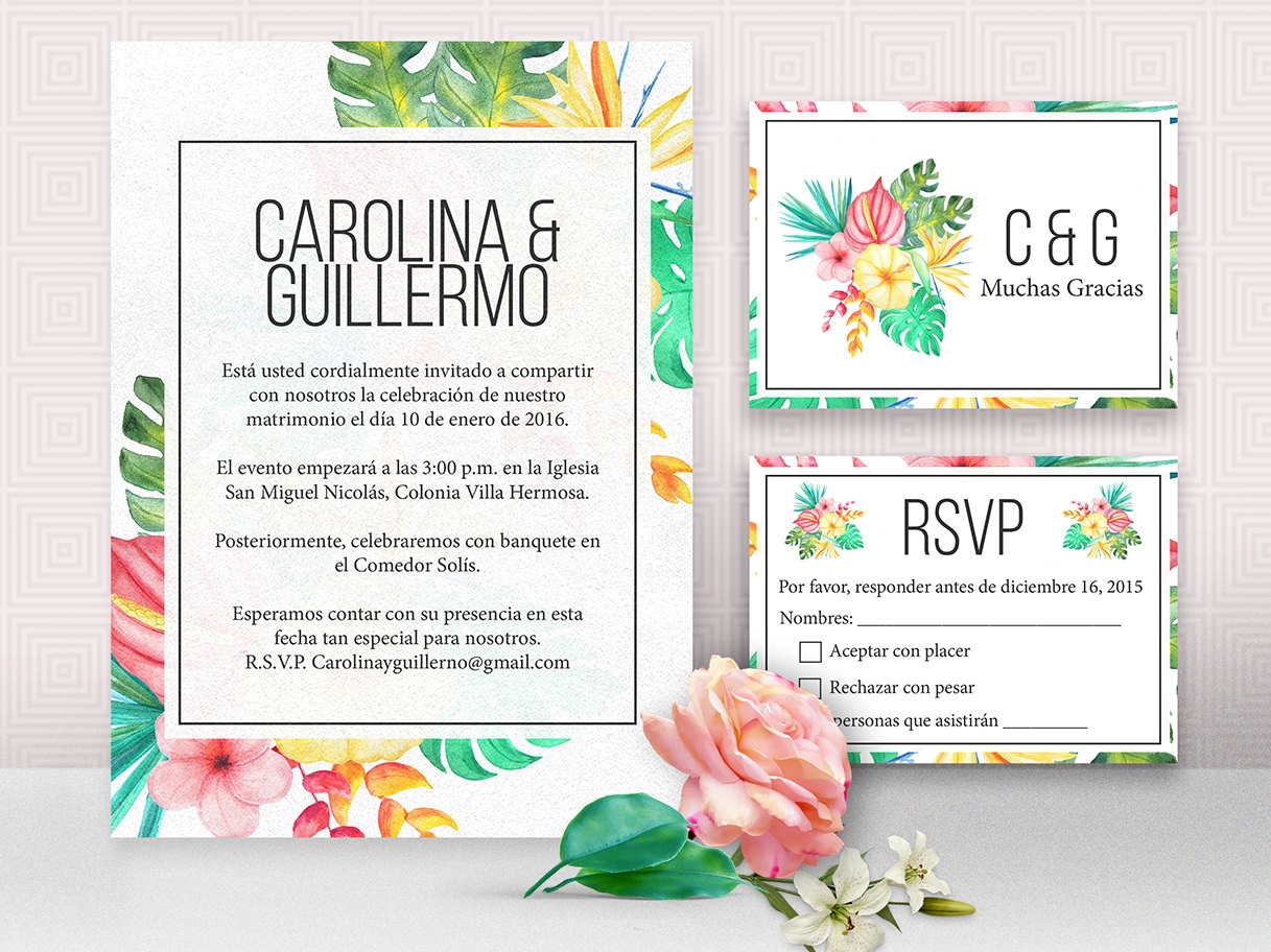 Invitations In Spanish For Wedding: Wedding Invitation In Spanish With RSVP And Thank You Cards