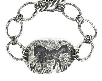 Running Horse Bracelet, Sterling Silver Link Bracelet, Textured Bracelet, Adjustable, 8 inches, Talisman, Horse Medicine, Equestrian Jewelry