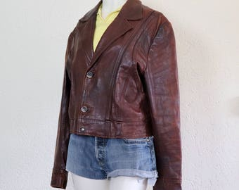 Vintage burgundy leather jacket | roestbruin burgundy leren jasje | size L/XL | vintage leren jasje | leather jacket