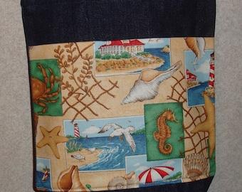 New Small Handmade Beach Sea Print Denim Tote Bag