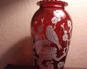 Ruby Red Etched Glass Vase/ Flowered Trees/ Mother Bird Feeding Young