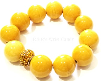 Yellow, Chunky Beaded Bracelet, Boho, OOAK, Abstract, Gold, Women, Stretchy, Custom, Handmade, Beaded Jewelry