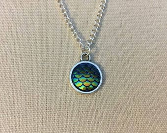 Green/Blue Mermaid Scale, Dragon Scale Necklace.