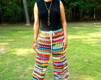 Hand Crochet Wide Leg Pants, Crochet Palazzo Pants,  Summer Pants, Swimsuit Cover-up, Beach Pants, Crochet Pants, Multi Colors