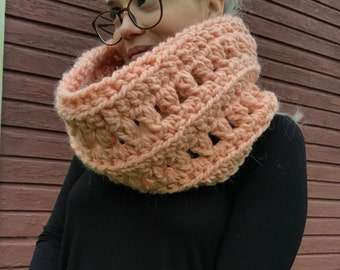 Ready to Ship Cowl, Tulip Cowl, Pink Cowl, Cowl, Soft Cowl, Alpaca Cowl, Crocheted Cowl, Cozy Cowl, Cowl, Neck Warmer, Neck Wrap