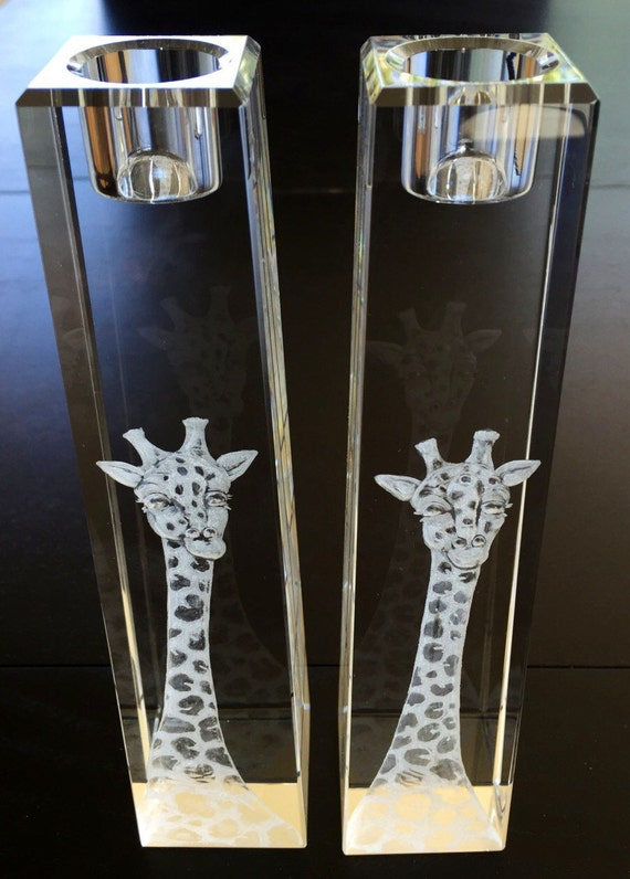 Hand Engraved Giraffe Candlesticks, African Animals, Candlesticks, Giraffe, House Warming Gift, Bridal Gifts, African Art
