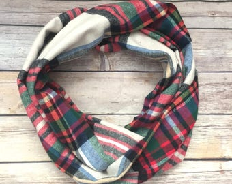 Beige Tartan Plaid Infinity Scarf, Red Flannel Scarf, Winter Scarf For Women, Winter Fashion Trend, Christmas Gift for Her Under 20