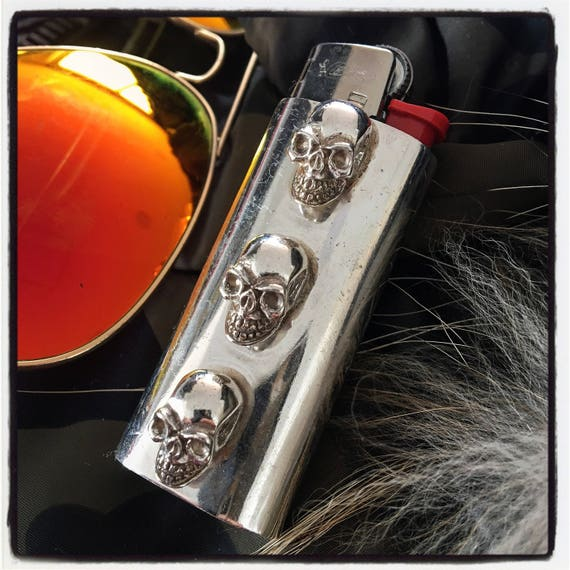 Etherial Jewelry - Rock Chic Talisman Luxury Biker Custom Handmade Artisan Pure Sterling Silver .925 Custom Bic Skull Small Lighter Case