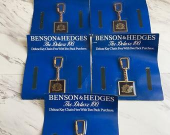Vintage set of 5 Benson & Hedges The Delux 100 Key chain