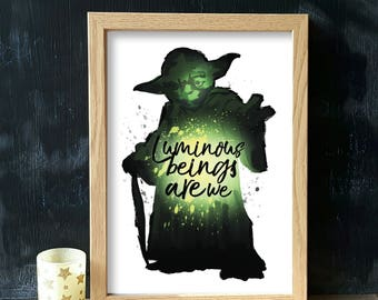 Yoda- Star Wars quote print (A4 & A5) home decor, poster, picture, jedi, gift, wall art, inspiration, present