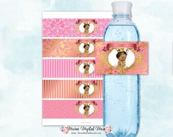 Water Bottle Labels Ornate Pink & Gold | African American Princess | Damask Polka Dots Stripes | Digital Instant Download