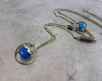 Necklace blue dreamers, colorful agate.