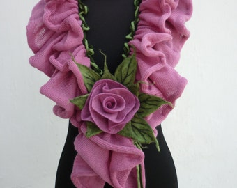 Knit scarf Handmade scarf autumn fashion accessories Scarf ruffle scarf felt rose Infinity scarf Summer's hottest gift ideas