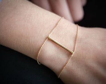 Bracelet with hair in plated gold