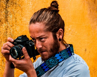 Leather camera strap, Gift Photographer, Gift for him, Tribal camera strap, dslr camera strap- Maya Sol (Mayan Sun) blue, turquoise - MSC3