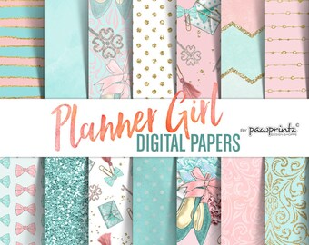 Fashion Digital Paper: Winter Planner Girl, Aqua & Pink Glam Planner, Planner Clipart Paper Pack, Girl Boss Winter Fashion Digital