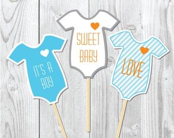 Baby shower onesies photoprops digital printable, it's a boy baby shower party printables, printables photoprops, onesies photoprops