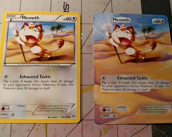 Meowth- Painted Pokemon card