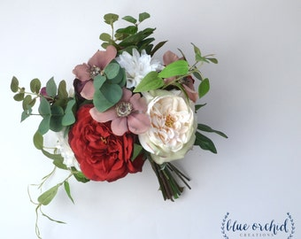 Wedding Bouquet, Winter Bouquet, Silk Wedding Bouquet, Bridal Bouquet, Boho Bouquet, Silk Flowers, Winter Bouquet, Burgundy Bouquet, Marsala
