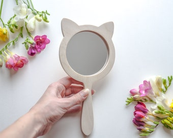 Hand mirror vintage Personalized gift Kitty gift idea Kitty ears Wooden hand mirror Safety mirror