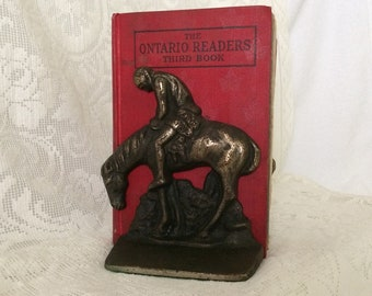 END of the TRAIL BOOKENDS - Native American Indian on Horseback