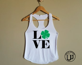 Racer Back Workout Tank: LOVE Four Leaf Clover - Saint Patrick's Day Shirt, Kiss Me Shirt, St Patty's Day Outfit, St. Paddy's Tank