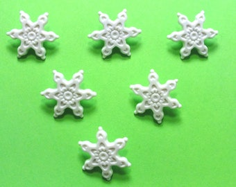 LOT 6 buttons: 17mm white snow flake (n ° 2)