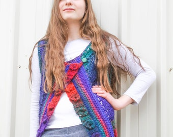 Crochet Vest for teens – Country Market Collection – Boho Crochet Vest - Orchid Stitch
