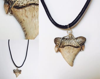 Shark Tooth Necklace, Clay Pendant, Shark Jewelry, Ocean Jewellery, Bone Jewellery, Wire Wrapped Jewellery, Gift For Men, Mens Necklaces